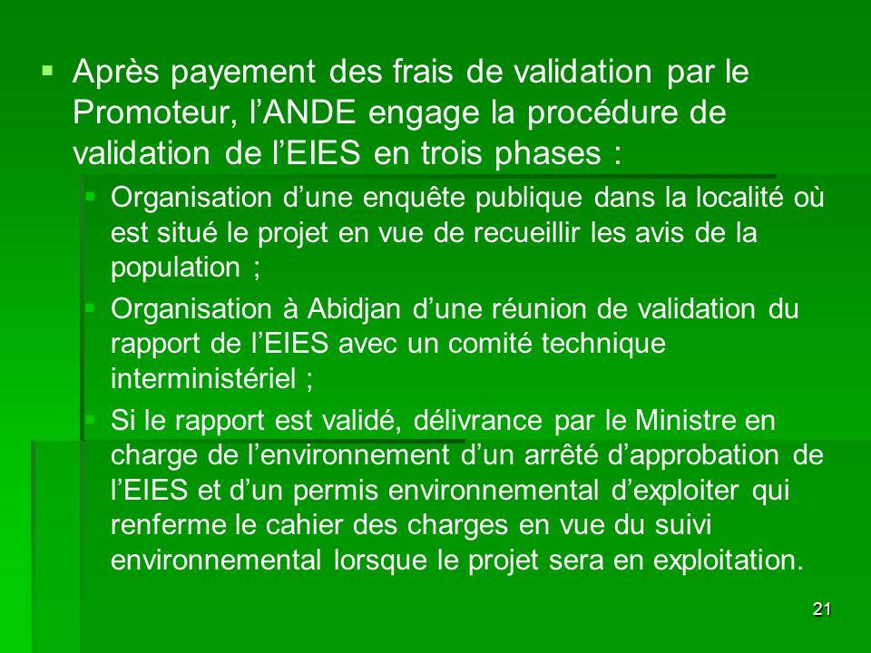 Après payement des frais de validation par le Promoteur, l'ANDE engage la procédure de validation de l'EIES en trois phases :
