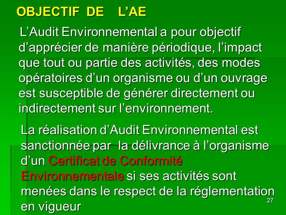 OBJECTIF DE L'AE