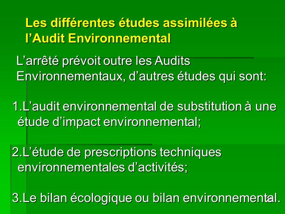 Les différentes études assimilées à l'Audit Environnemental