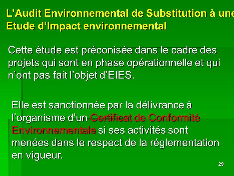 L'Audit Environnemental de Substitution à une Etude d'Impact environnemental