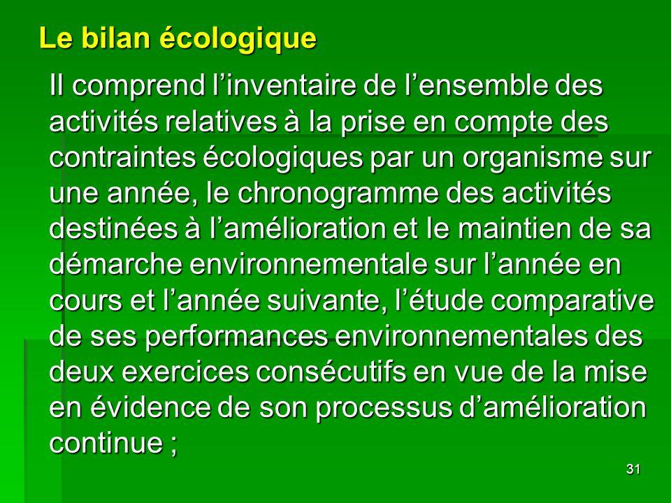 Le bilan écologique