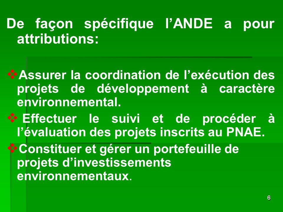 De façon spécifique l'ANDE a pour attributions: