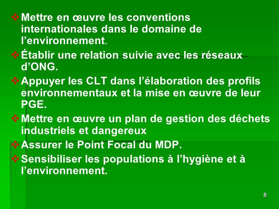 Mettre en œuvre les conventions internationales dans le domaine de l'environnement.