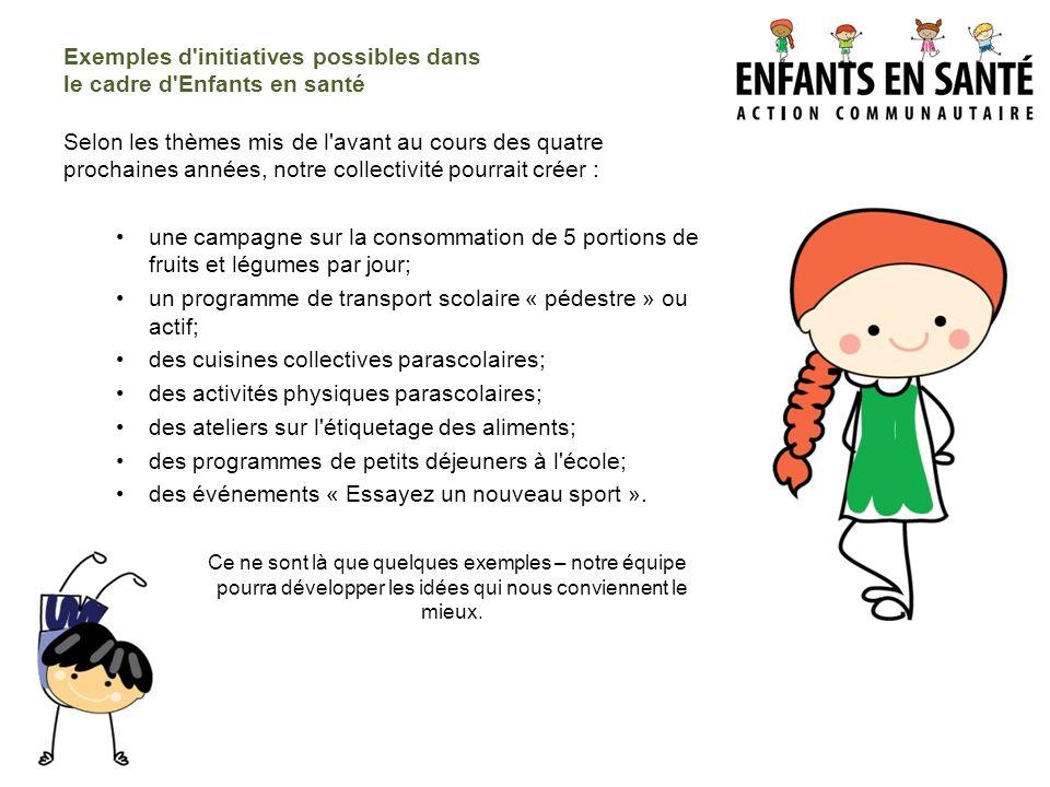 Exemples d initiatives possibles dans le cadre d Enfants en santé
