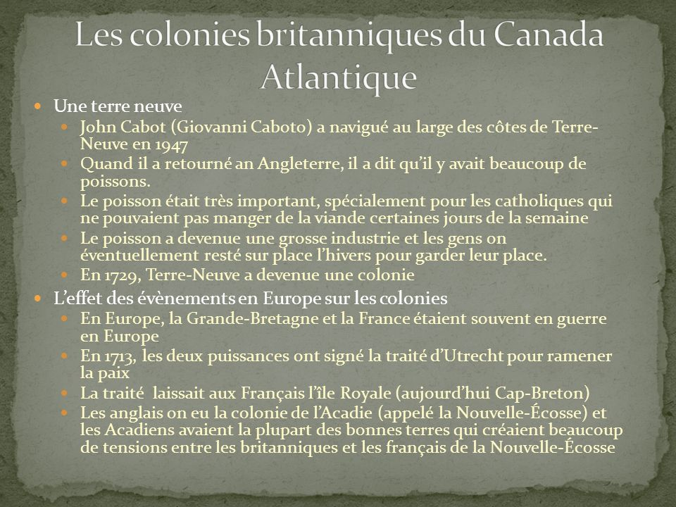 Les colonies britanniques du Canada Atlantique