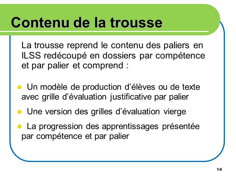 Contenu de la trousse La trousse reprend le contenu des paliers en ILSS redécoupé en dossiers par compétence et par palier et comprend :