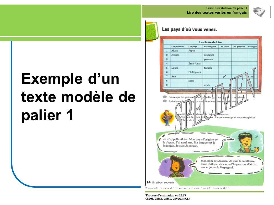 Exemple d'un texte modèle de palier 1