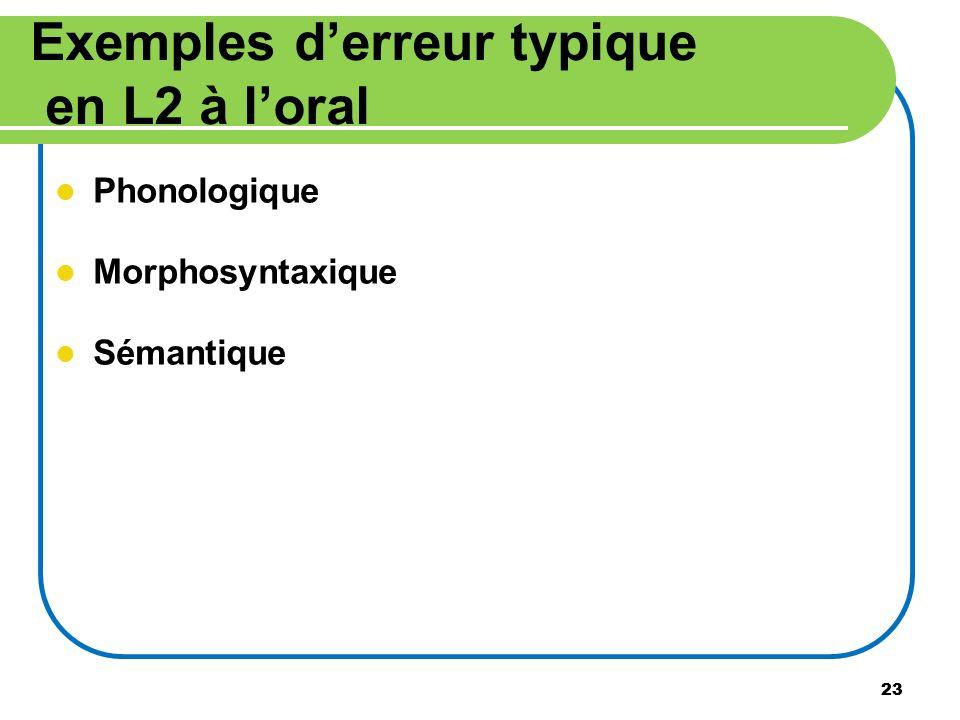 Exemples d'erreur typique en L2 à l'oral