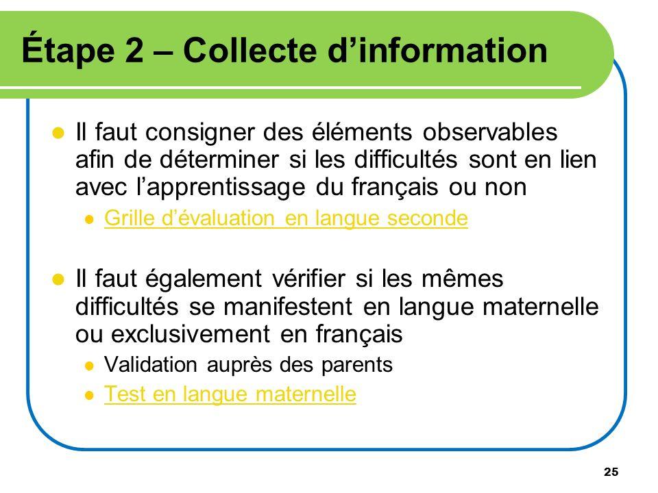 Étape 2 – Collecte d'information