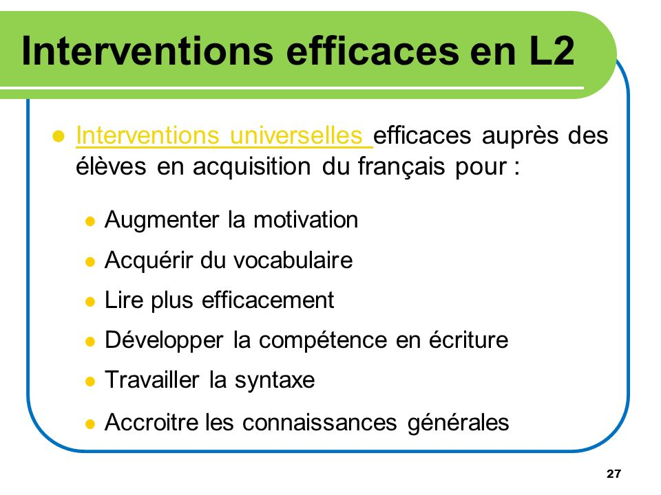 Interventions efficaces en L2