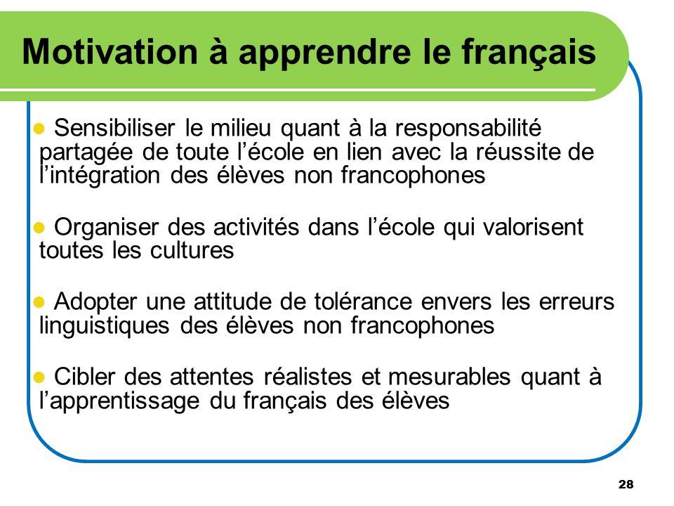 Motivation à apprendre le français