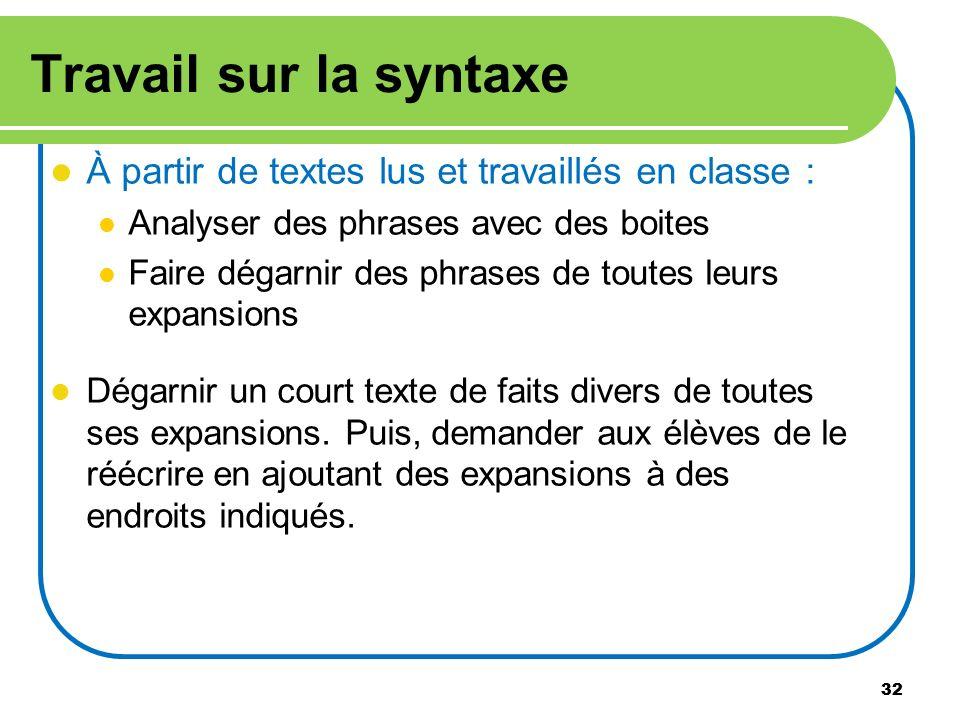 Travail sur la syntaxe À partir de textes lus et travaillés en classe : Analyser des phrases avec des boites.