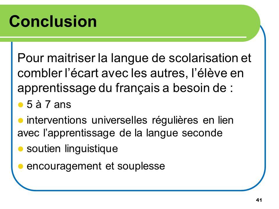 ConclusionPour maitriser la langue de scolarisation et combler l'écart avec les autres, l'élève en apprentissage du français a besoin de :