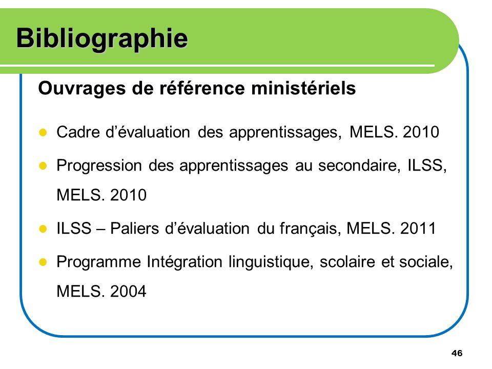 Bibliographie Ouvrages de référence ministériels