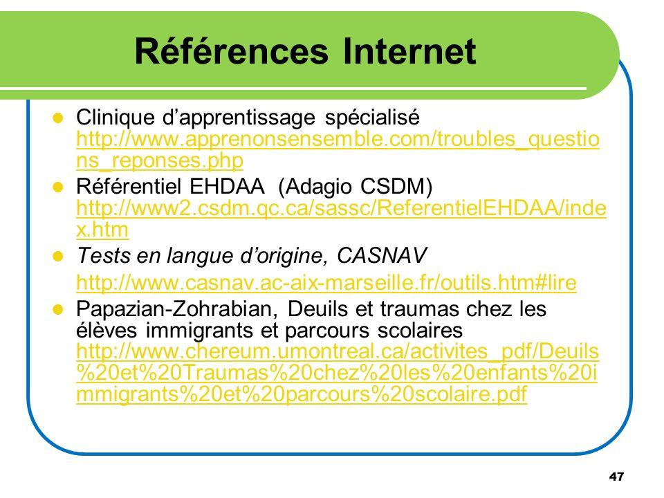 Références Internet Clinique d'apprentissage spécialisé http://www.apprenonsensemble.com/troubles_questions_reponses.php.