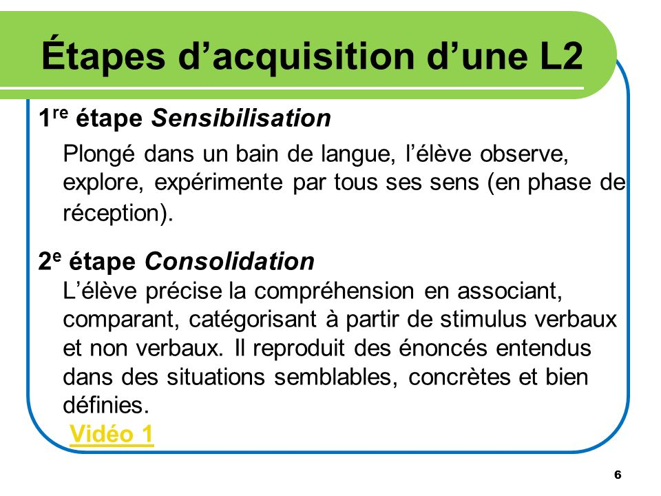 Étapes d'acquisition d'une L2