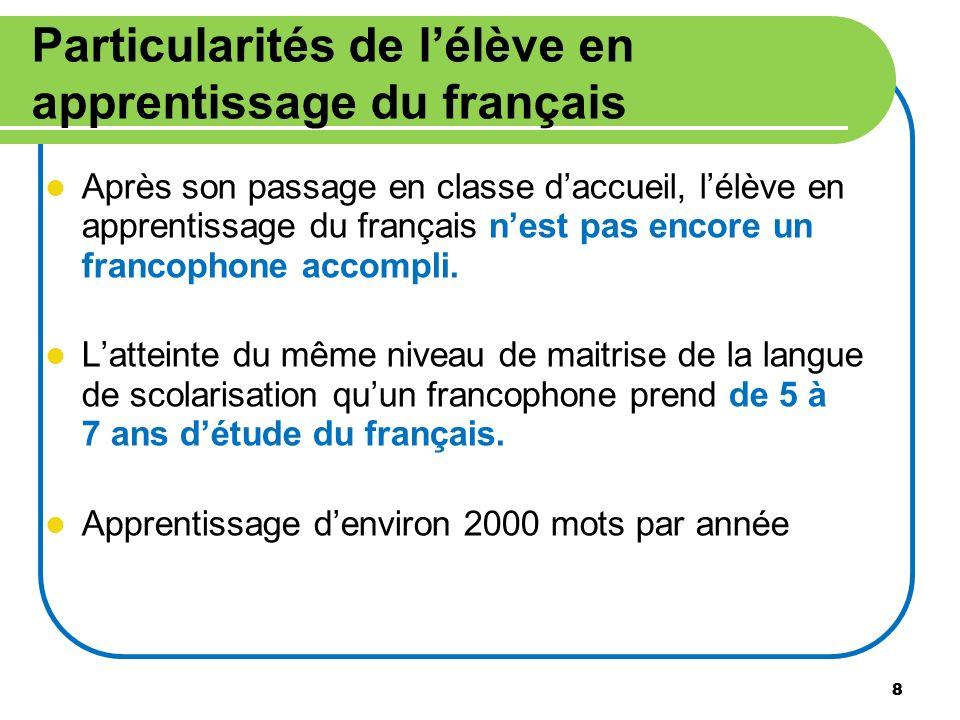 Particularités de l'élève en apprentissage du français