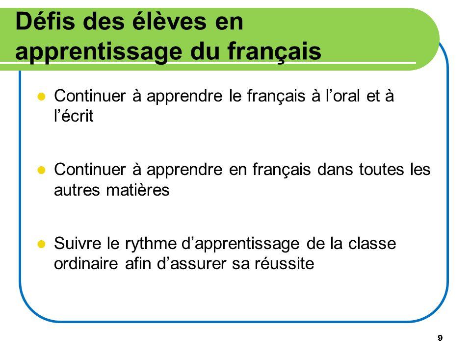 Défis des élèves en apprentissage du français