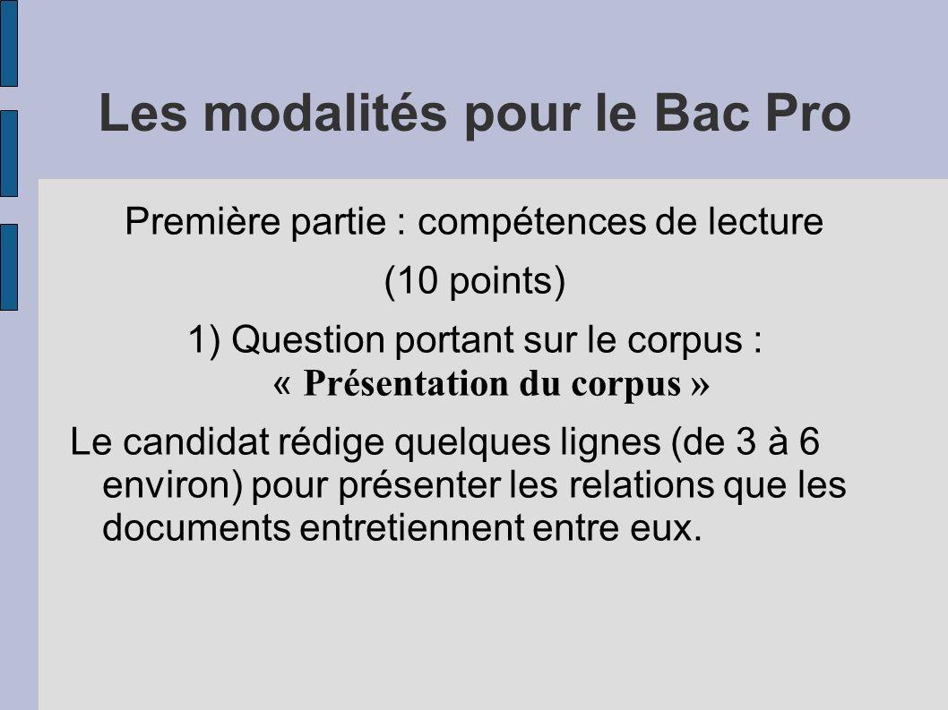 Les modalités pour le Bac Pro
