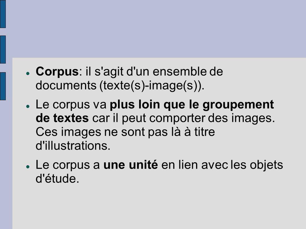 Corpus: il s agit d un ensemble de documents (texte(s)-image(s)).