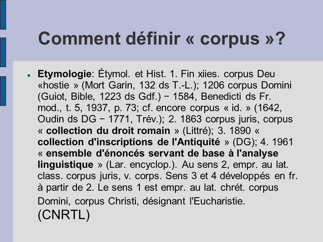 Comment définir « corpus »