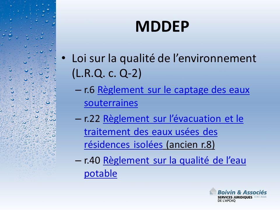 MDDEP Loi sur la qualité de l'environnement (L.R.Q. c. Q-2)