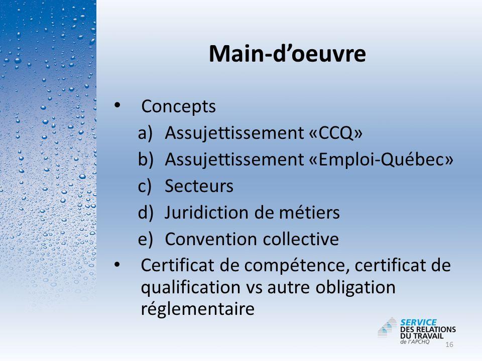 MDDEP Main-d'oeuvre. Loi sur la qualité de l'environnement (L.R.Q. c. Q-2) r.6 Règlement sur le captage des eaux souterraines.