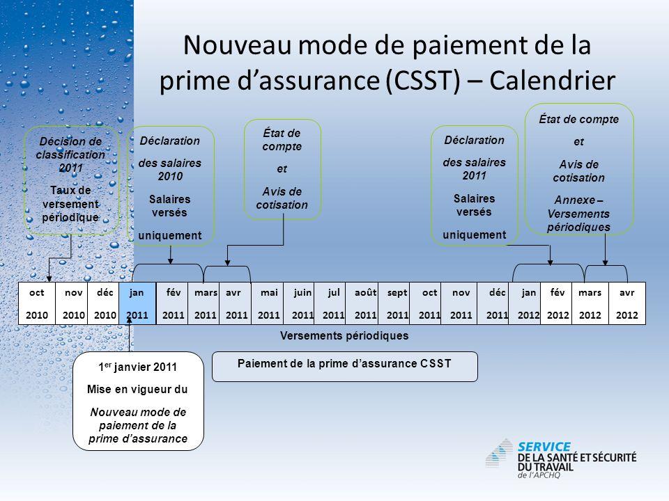 Nouveau mode de paiement de la prime d'assurance (CSST) – Calendrier