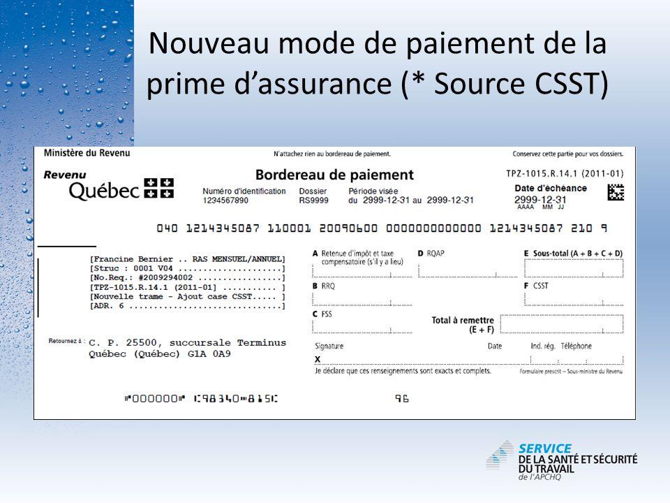 Nouveau mode de paiement de la prime d'assurance (* Source CSST)