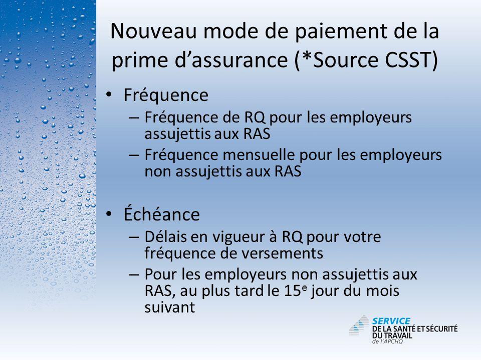 Nouveau mode de paiement de la prime d'assurance (*Source CSST)