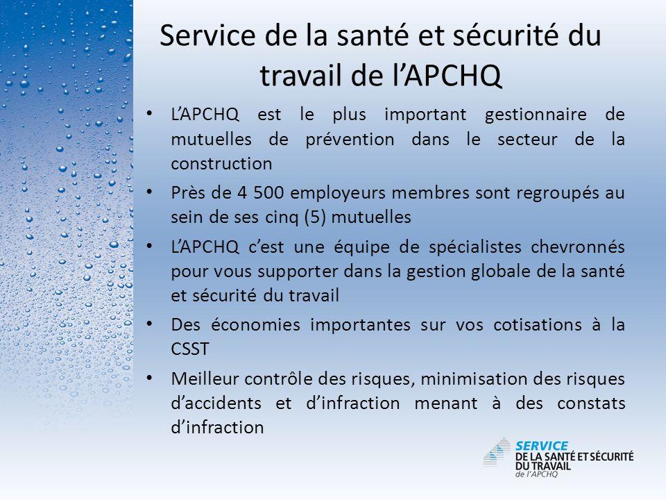 Service de la santé et sécurité du travail de l'APCHQ
