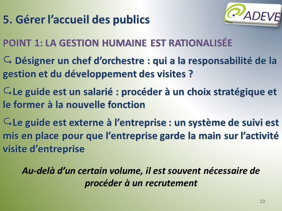 5. Gérer l'accueil des publics