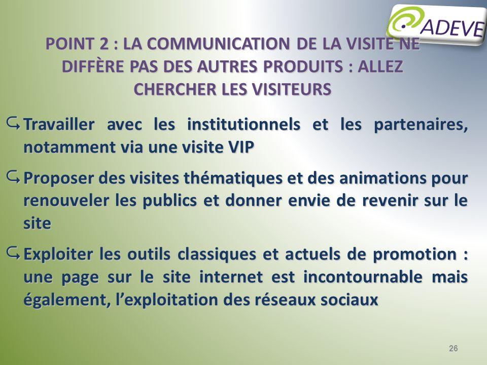Point 2 : la communication de la visite ne diffère pas des autres produits : allez chercher les visiteurs