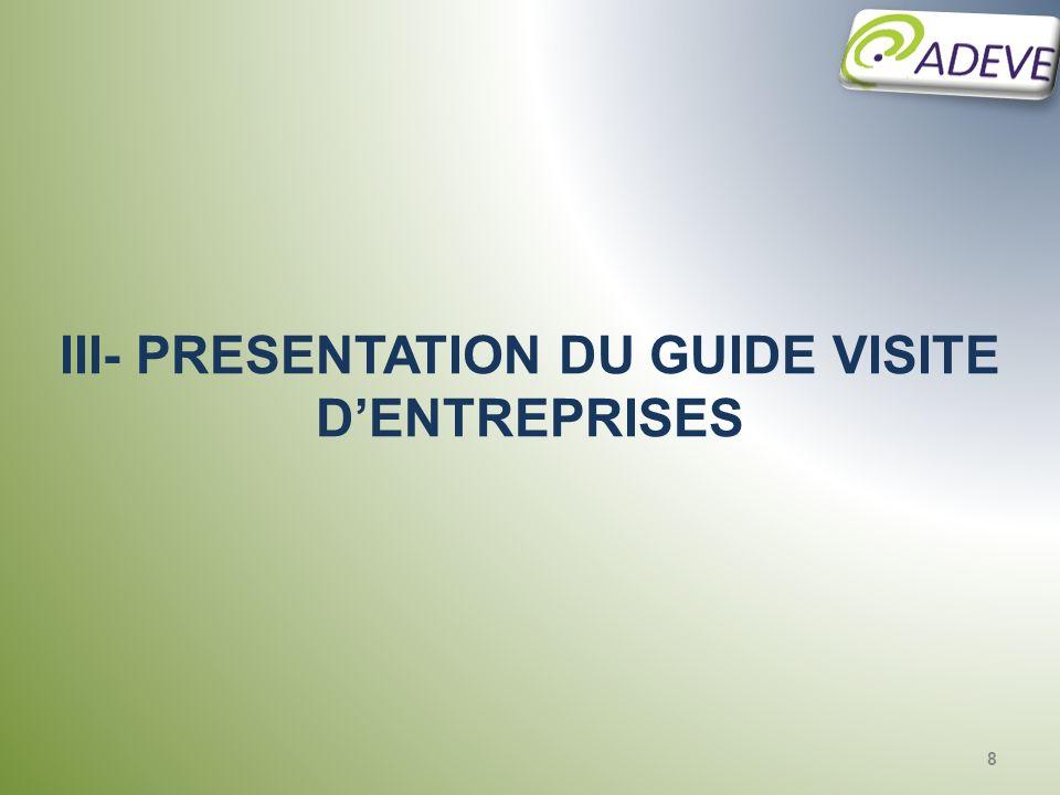 III- PRESENTATION DU GUIDE VISITE D'ENTREPRISES