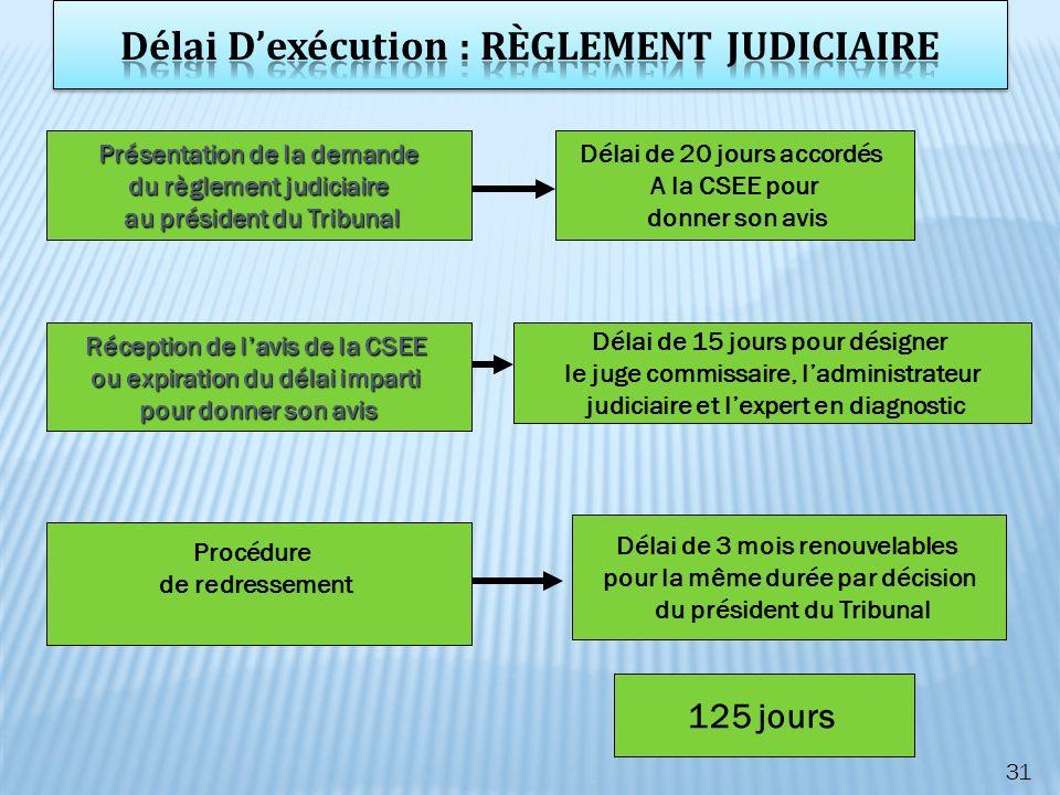 Délai D'exécution : RÈGLEMENT JUDICIAIRE