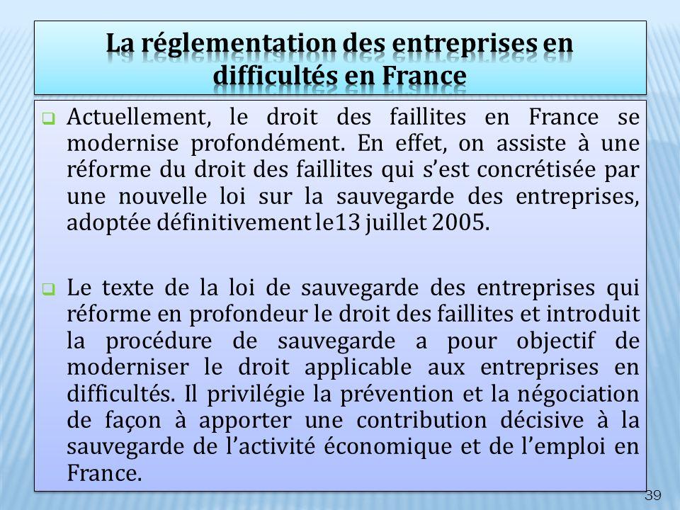 La réglementation des entreprises en difficultés en France