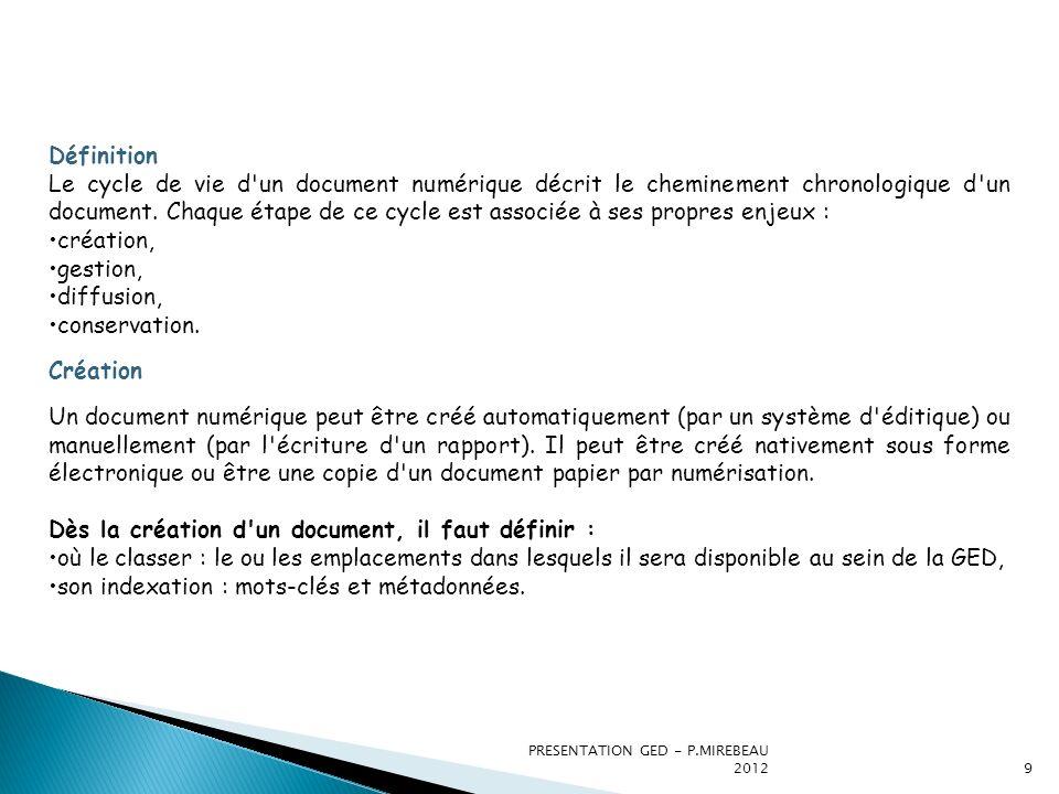 Dès la création d un document, il faut définir :