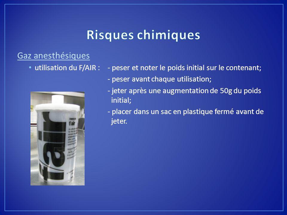 Risques chimiques Gaz anesthésiques