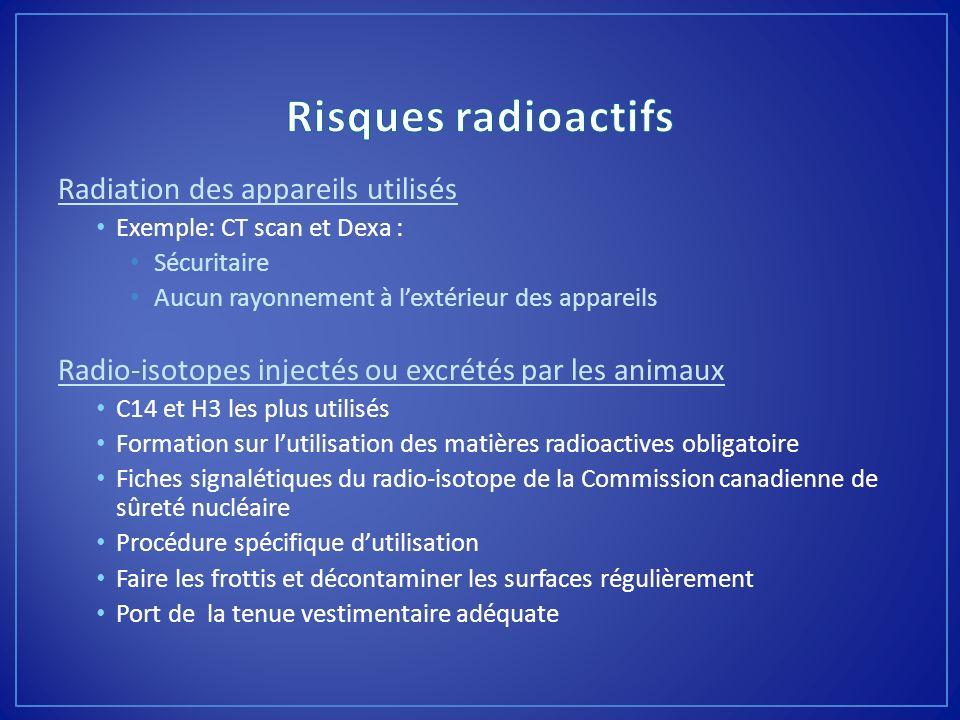 Risques radioactifs Radiation des appareils utilisés