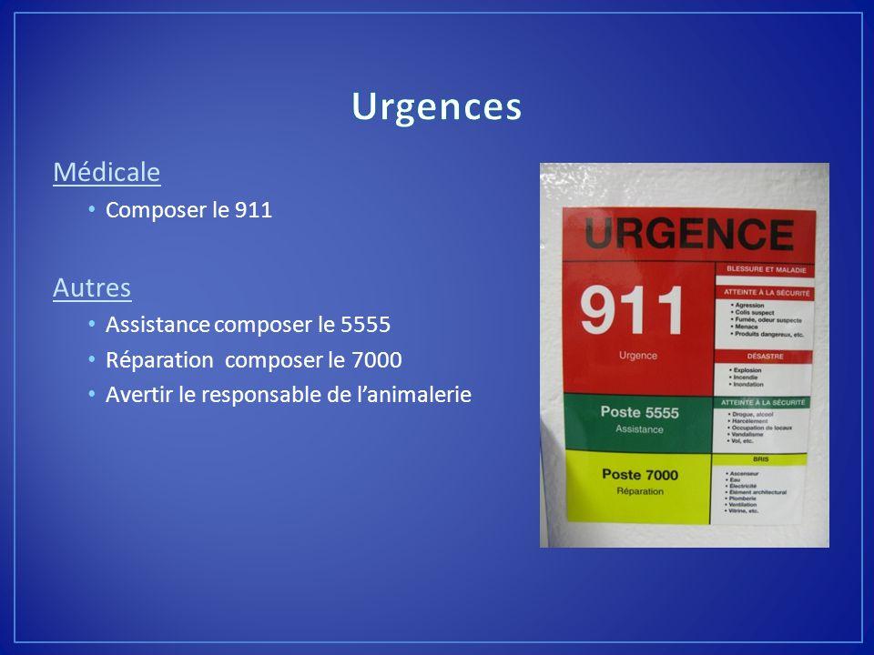 Urgences Médicale Autres Composer le 911 Assistance composer le 5555