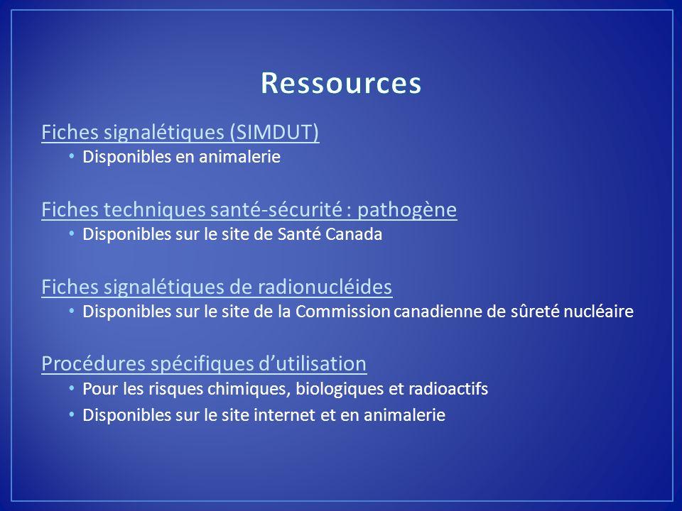 Ressources Fiches signalétiques (SIMDUT)