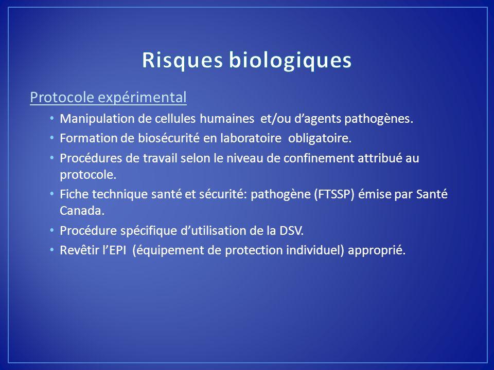 Risques biologiques Protocole expérimental