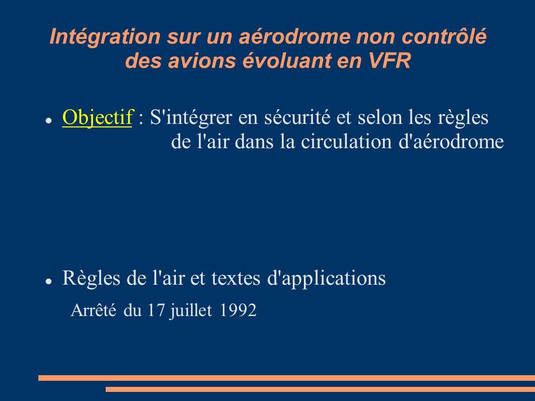 Intégration sur un aérodrome non contrôlé des avions évoluant en VFR
