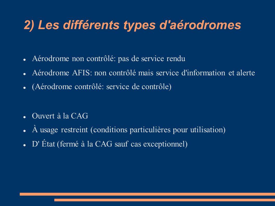 2) Les différents types d aérodromes