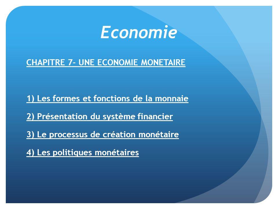 Economie CHAPITRE 7- UNE ECONOMIE MONETAIRE