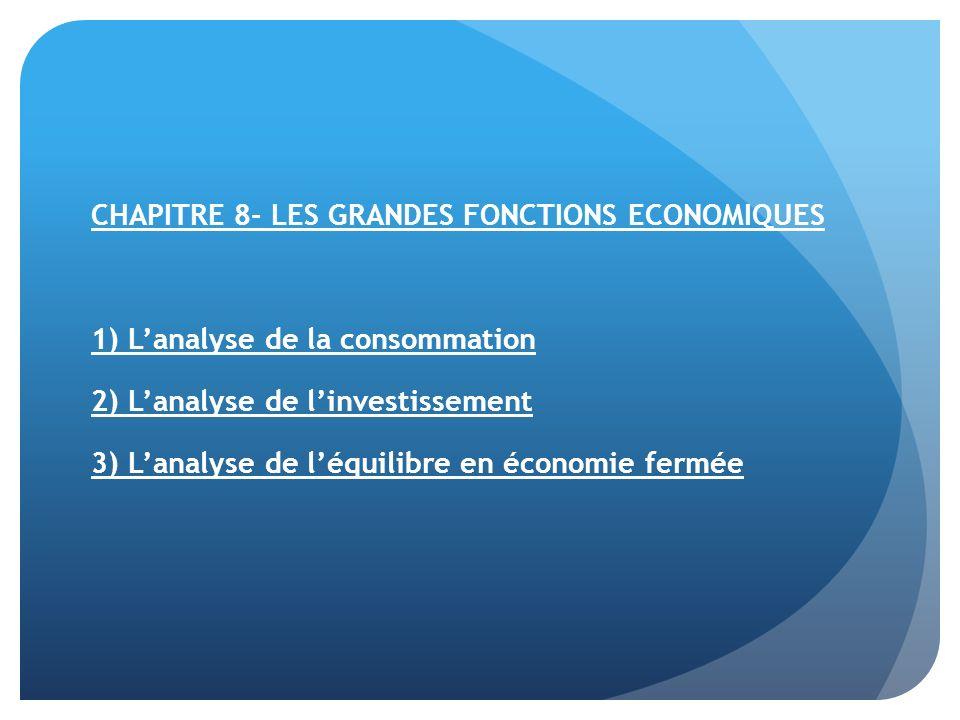 CHAPITRE 8- LES GRANDES FONCTIONS ECONOMIQUES