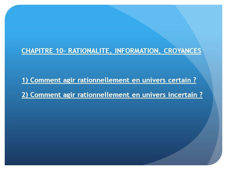 CHAPITRE 10- RATIONALITE, INFORMATION, CROYANCES