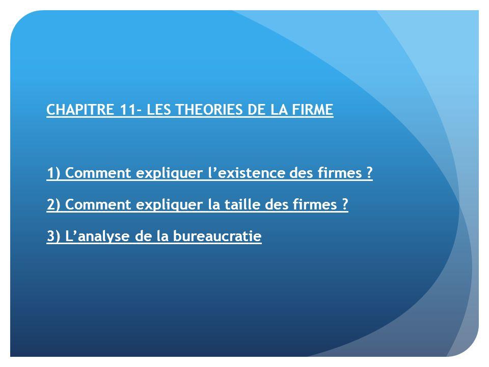 CHAPITRE 11- LES THEORIES DE LA FIRME