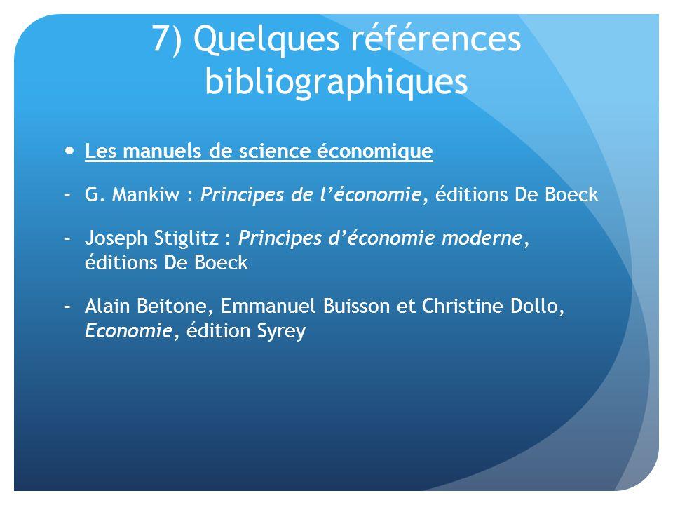 7) Quelques références bibliographiques