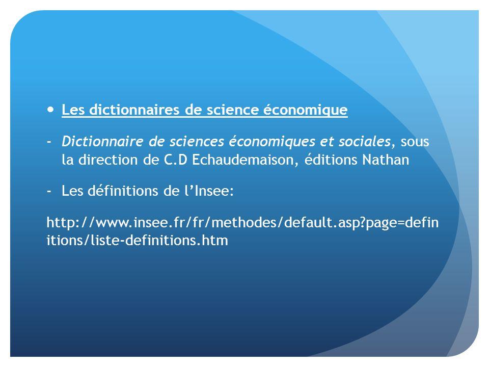 Les dictionnaires de science économique